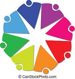 logo, gens, collaboration, communauté, 8