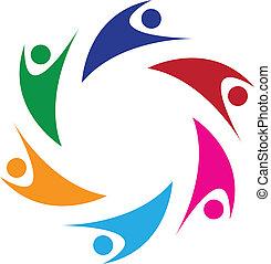 logo, gens, collaboration, heureux, 6