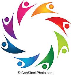 logo, gens, collaboration, heureux, 8