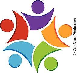 logo, gens, collaboration, icône