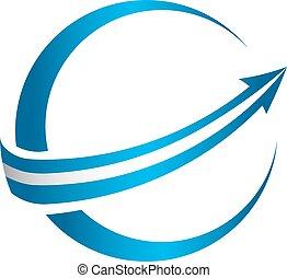logo, global, flèche, 3d