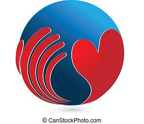 logo, global, heart., soin, main