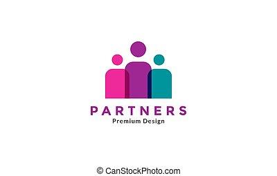 logo, graphique, icône, vecteur, trois, conception, symbole, gens, illustration, groupe, résumé