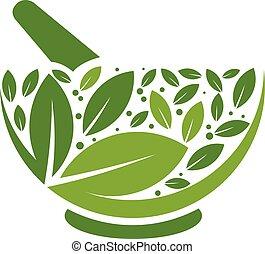 logo, herbier, pilon, mortier
