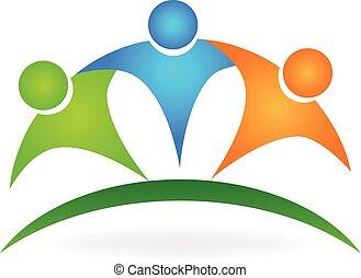 logo, heureux, amitié, gens