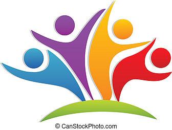 logo, heureux, collaboration, partenaires