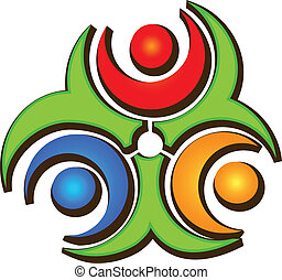 logo, heureux, collaboration, trois personnes