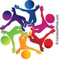 logo, heureux, diversité, collaboration