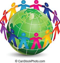 logo, heureux, gens, autour de, mondiale