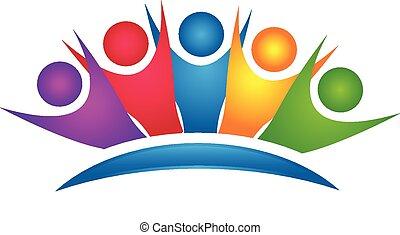 logo, heureux, groupe, coloré, collaboration