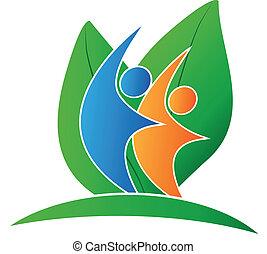 logo, heureux, pousse feuilles, gens
