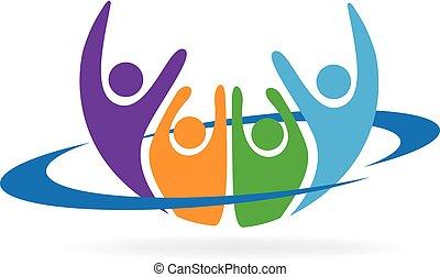 logo, heureux, vecteur, gens