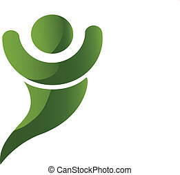 logo, heureux, vert, humain, swoosh