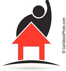 logo, homme, propriété, maison