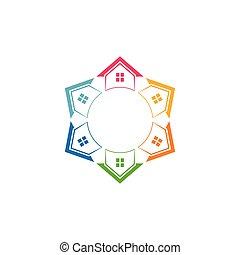 logo., housesin, maisons, couleurs, suburbain, propriété, divers, vrai