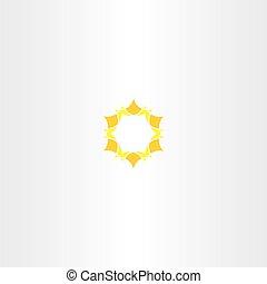 logo, icône, étoile, soleil jaune
