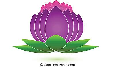 logo, icône, vecteur, fleur, lotus