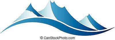 logo, image., montagnes