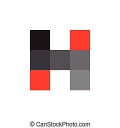 logo, lettre, simple, carrée, h, vecteur, mosaïque