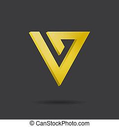 logo, lettre, v