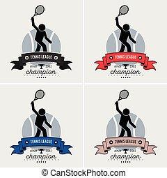 logo, ligue, tennis, design.