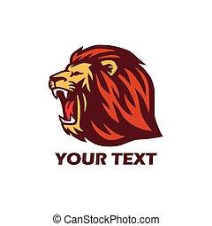 logo, lion, rugir