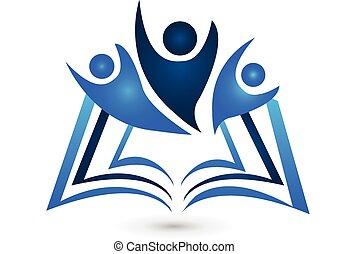 logo, livre, education, collaboration