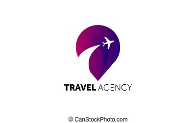 logo., logotype, conception, voyage, template., agence