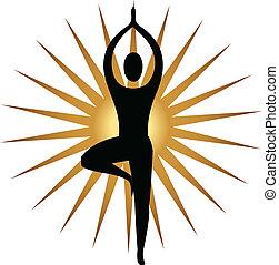 logo, méditation, pose, yoga