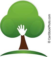 logo, main, arbre, gens