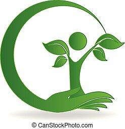 logo, main, arbre, soin
