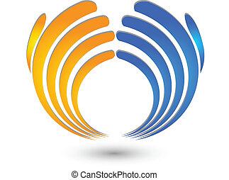 logo, mains affaires