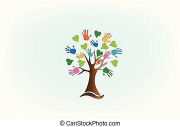 logo, mains, amour, arbre, cœurs