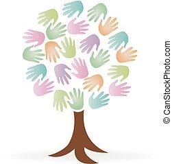 logo, mains, arbre, gens