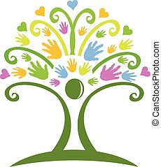 logo, mains, arbre