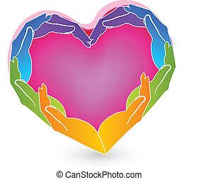 logo, mains, coeur, solidarité