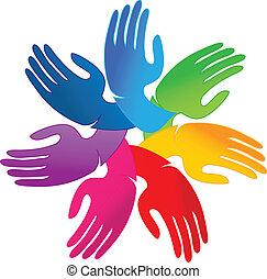 logo, mains, collaboration, gens