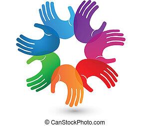 logo, mains, coloré, collaboration