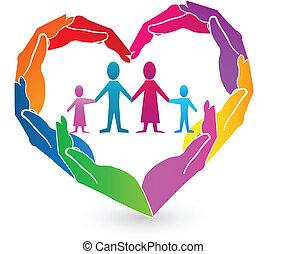 logo, mains, famille, coeur