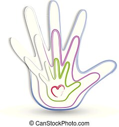 logo, mains, famille, icône