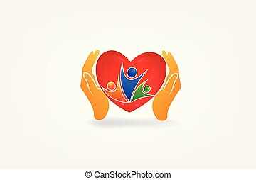 logo, mains, gens, soin