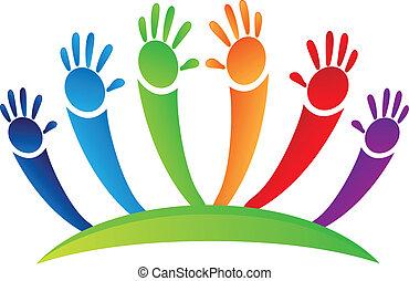 logo, mains haut, équipe
