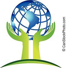 logo, mains, soin, mondiale