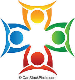 logo, mains, tenue, équipe