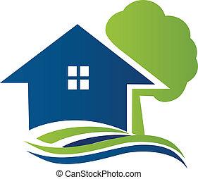 logo, maison, arbre, vagues