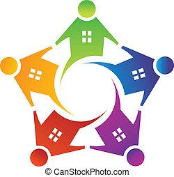 logo, maison, cercle, vecteur, gens
