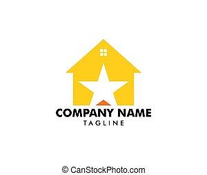 logo, maison, conception, étoile, élément
