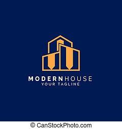 logo, maison, moderne