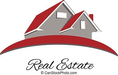 logo, maison, propriété, rouges, vrai