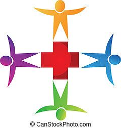 logo, monde médical, collaboration, gens